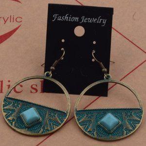 🇺🇸 3/$30 Boho Gold Patina Faux Turquoise Earring